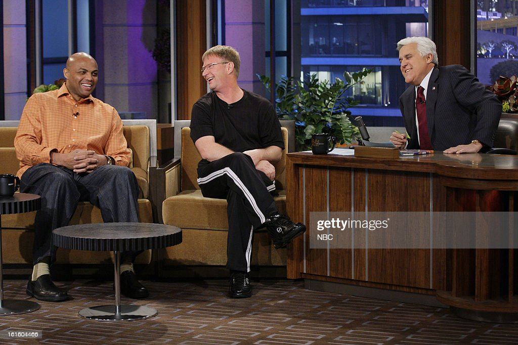 Former basketball player Charles Barkley and The World's Fastest Free Throw Shooter Bob Fisher during an interview with host Jay Leno on February 12, 2013 --