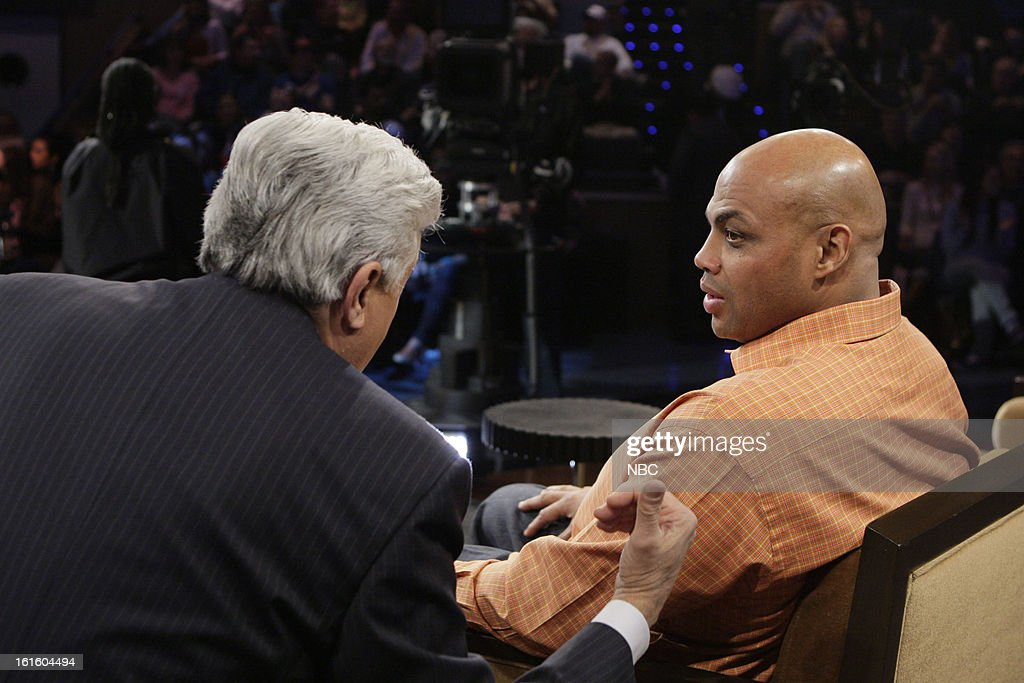 LENO -- (EXCLUSIVE COVERAGE) -- Episode 4407 -- Pictured: (l-r) Host Jay Leno talks with former basketball player <a gi-track='captionPersonalityLinkClicked' href=/galleries/search?phrase=Charles+Barkley&family=editorial&specificpeople=202484 ng-click='$event.stopPropagation()'>Charles Barkley</a> on February 12, 2013 --