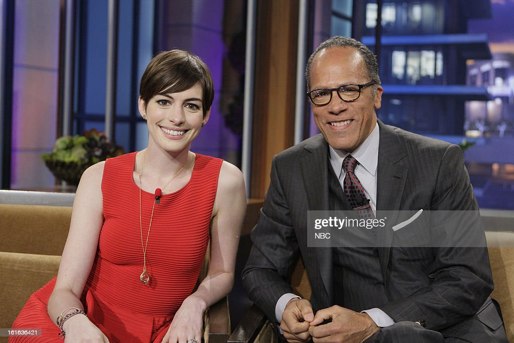 LENO -- (EXCLUSIVE COVERAGE) -- Episode 4408 -- Pictured: (l-r) Actress <a gi-track='captionPersonalityLinkClicked' href=/galleries/search?phrase=Anne+Hathaway+-+Actress&family=editorial&specificpeople=11647173 ng-click='$event.stopPropagation()'>Anne Hathaway</a> and news anchor <a gi-track='captionPersonalityLinkClicked' href=/galleries/search?phrase=Lester+Holt&family=editorial&specificpeople=2983122 ng-click='$event.stopPropagation()'>Lester Holt</a> on February 13, 2013 --