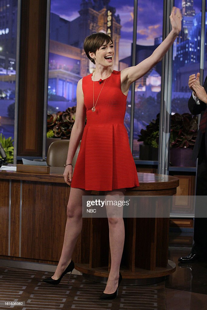 Actress <a gi-track='captionPersonalityLinkClicked' href=/galleries/search?phrase=Anne+Hathaway+-+Actress&family=editorial&specificpeople=11647173 ng-click='$event.stopPropagation()'>Anne Hathaway</a> arrives on February 13, 2013 --