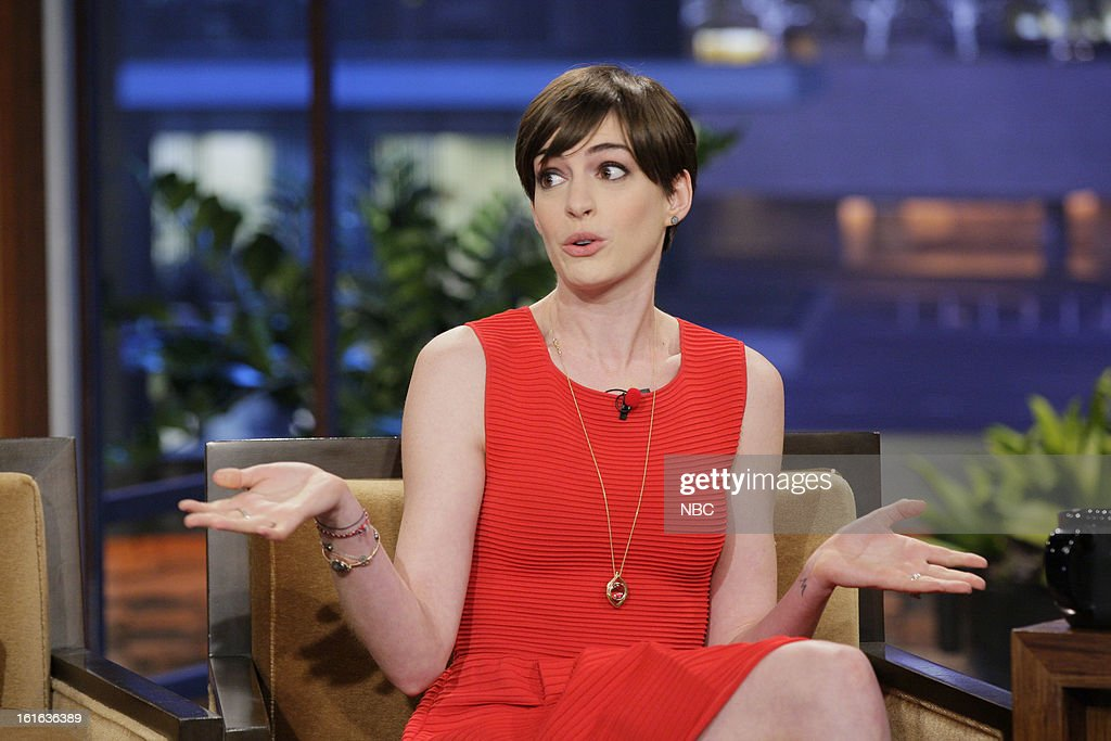 Actress <a gi-track='captionPersonalityLinkClicked' href=/galleries/search?phrase=Anne+Hathaway+-+Actress&family=editorial&specificpeople=11647173 ng-click='$event.stopPropagation()'>Anne Hathaway</a> during an interview with on February 13, 2013 --