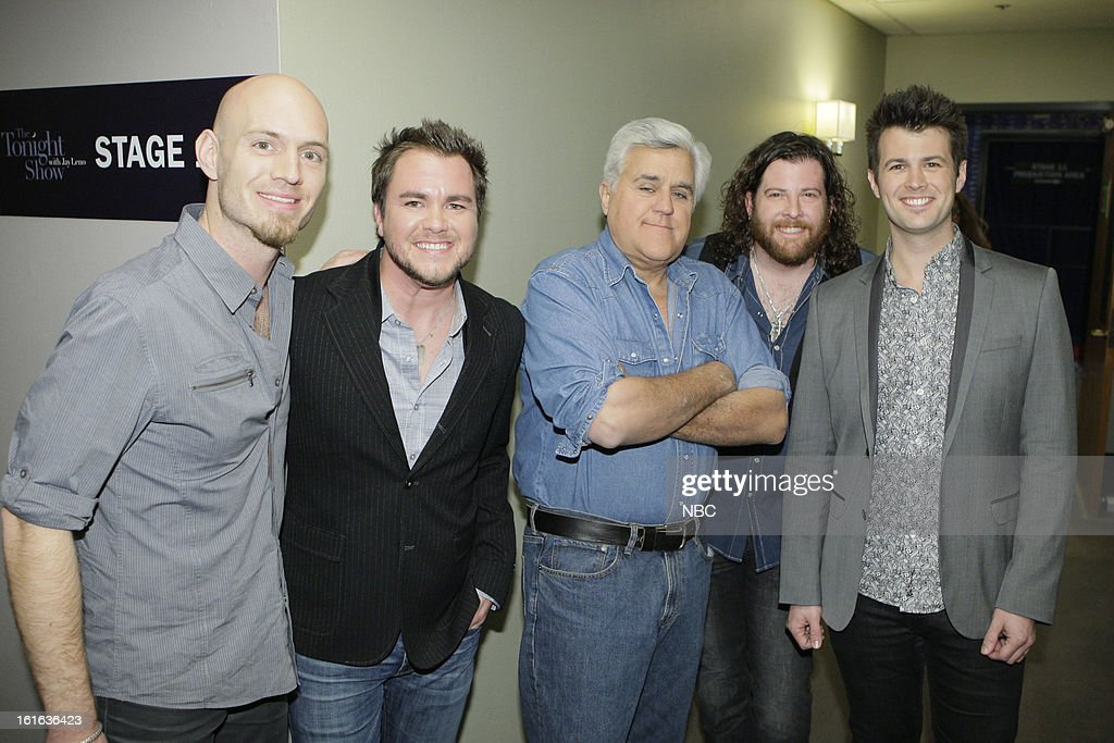 LENO -- (EXCLUSIVE COVERAGE) -- Episode 4408 -- Pictured: Host Jay Leno (center) with the Eli Young Bank on February 13, 2013 --