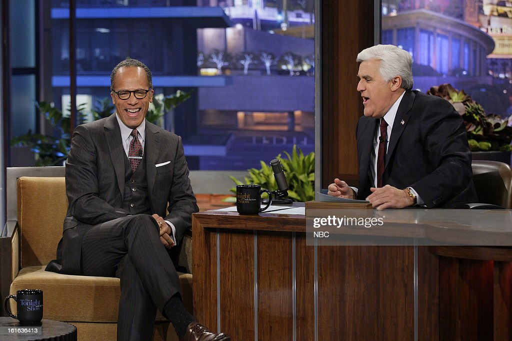 News anchor Lester Holt during an interview with host Jay Leno on February 13, 2013 --