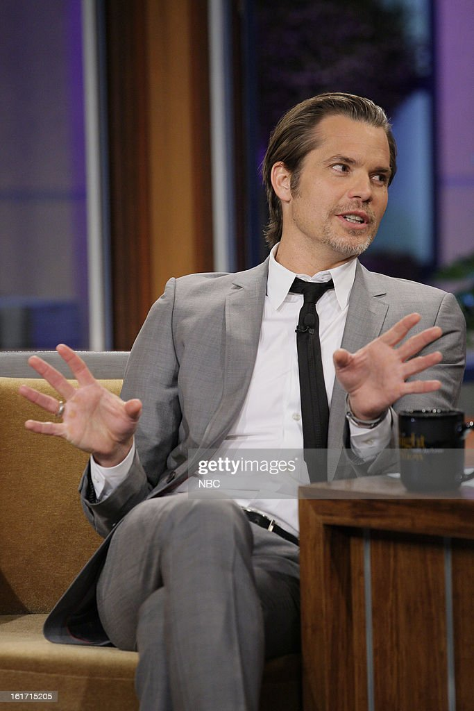 Actor <a gi-track='captionPersonalityLinkClicked' href=/galleries/search?phrase=Timothy+Olyphant&family=editorial&specificpeople=589275 ng-click='$event.stopPropagation()'>Timothy Olyphant</a> during an interview on February 14, 2013 --
