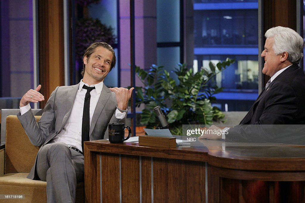 Actor <a gi-track='captionPersonalityLinkClicked' href=/galleries/search?phrase=Timothy+Olyphant&family=editorial&specificpeople=589275 ng-click='$event.stopPropagation()'>Timothy Olyphant</a> during an interview with host <a gi-track='captionPersonalityLinkClicked' href=/galleries/search?phrase=Jay+Leno+-+Television+Host&family=editorial&specificpeople=156431 ng-click='$event.stopPropagation()'>Jay Leno</a> on February 14, 2013 --