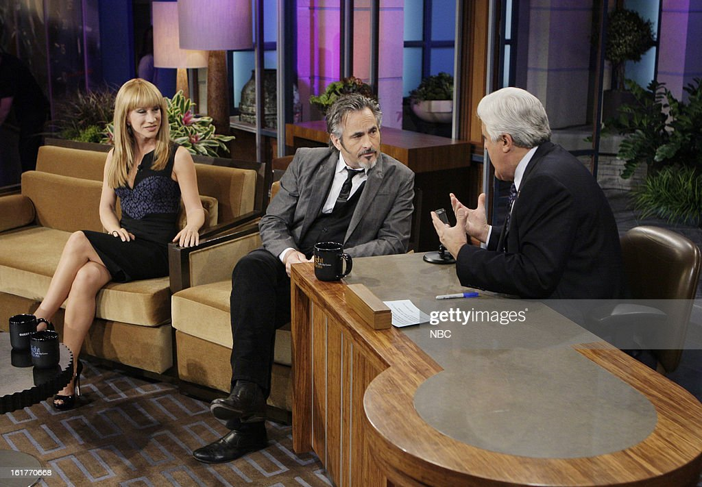 LENO -- (EXCLUSIVE COVERAGE) Episode 4410 -- Pictured: (l-r) Comedian Kathy Griffin, Golf broadcaster David Feherty talk with host Jay Leno during a commercial break on February 15, 2013 --