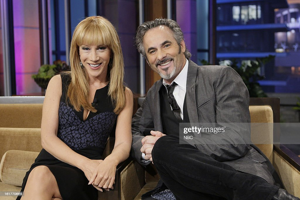 LENO -- (EXCLUSIVE COVERAGE) Episode 4410 -- Pictured: (l-r) Comedian Kathy Griffin, Golf broadcaster David Feherty during a commercial break on February 15, 2013 --