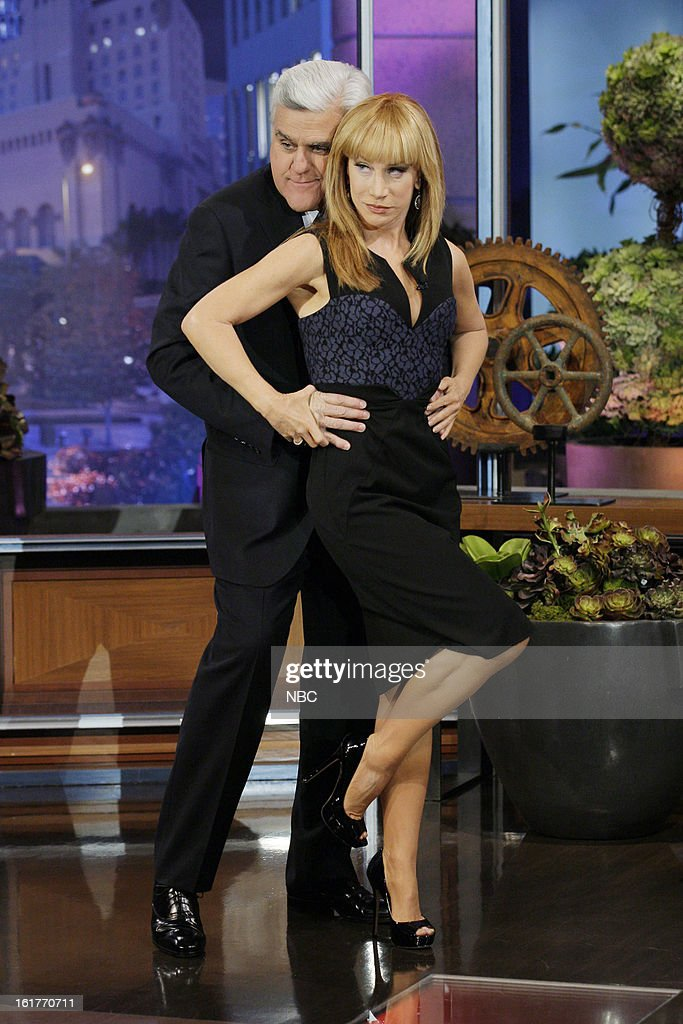 Host Jay Leno greets Comedian <a gi-track='captionPersonalityLinkClicked' href=/galleries/search?phrase=Kathy+Griffin&family=editorial&specificpeople=203161 ng-click='$event.stopPropagation()'>Kathy Griffin</a> on February 15, 2013 --
