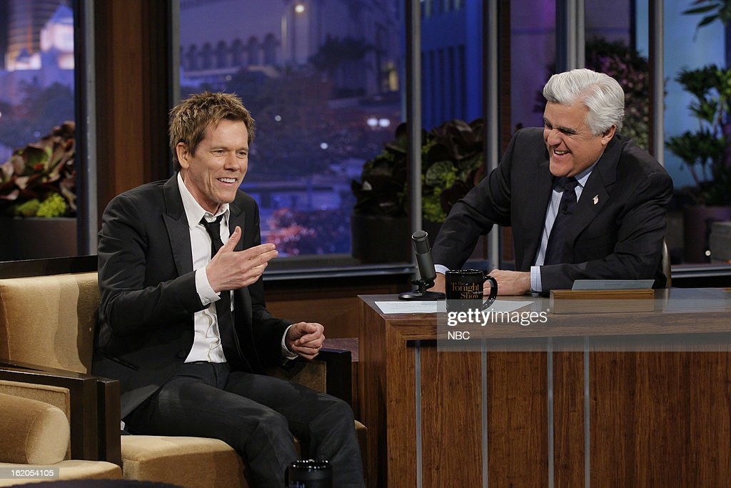 Actor Kevin Bacon during an interview with host Jay Leno on February 18, 2013 --