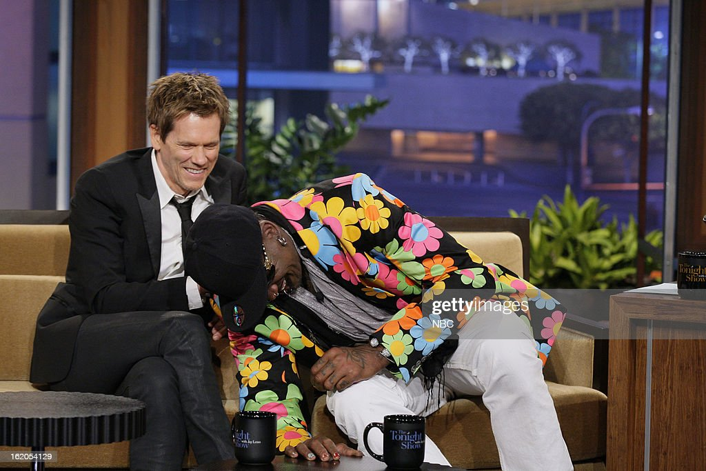 Actor Kevin Bacon, former basketball player Dennis Rodman during an interview on February 18, 2013 --