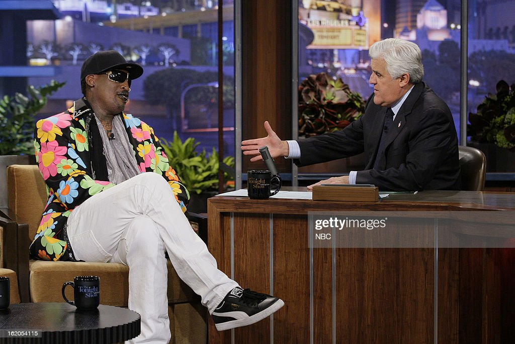 Former basketball player <a gi-track='captionPersonalityLinkClicked' href=/galleries/search?phrase=Dennis+Rodman&family=editorial&specificpeople=202643 ng-click='$event.stopPropagation()'>Dennis Rodman</a> during an interview with host <a gi-track='captionPersonalityLinkClicked' href=/galleries/search?phrase=Jay+Leno+-+Fernsehmoderator&family=editorial&specificpeople=156431 ng-click='$event.stopPropagation()'>Jay Leno</a> on February 18, 2013 --