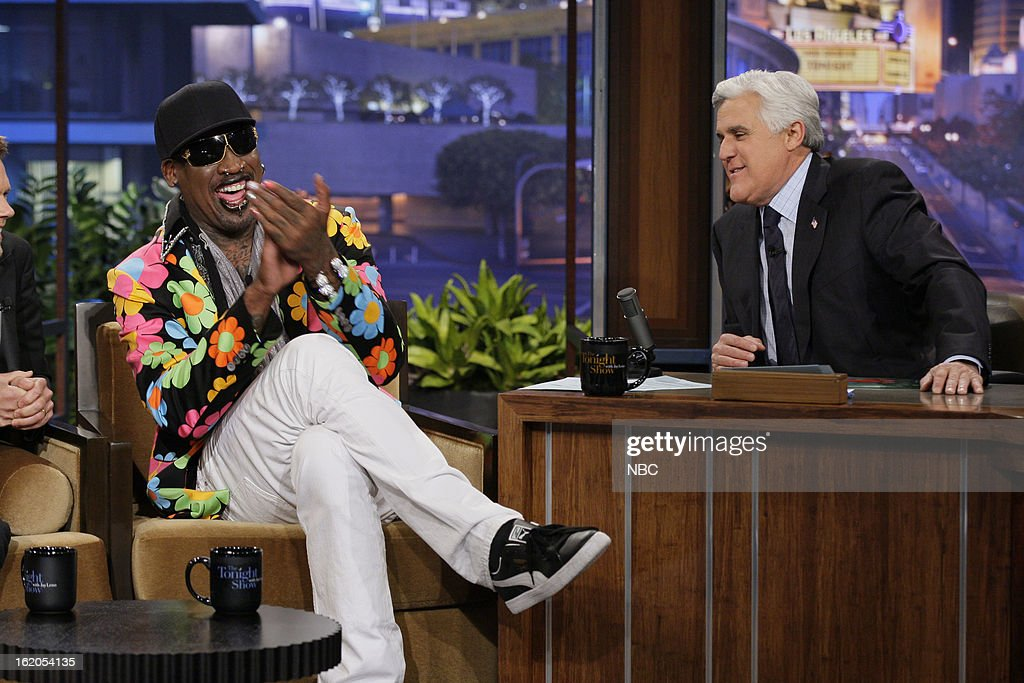 Former basketball player <a gi-track='captionPersonalityLinkClicked' href=/galleries/search?phrase=Dennis+Rodman&family=editorial&specificpeople=202643 ng-click='$event.stopPropagation()'>Dennis Rodman</a> during an interview with host <a gi-track='captionPersonalityLinkClicked' href=/galleries/search?phrase=Jay+Leno+-+Television+Host&family=editorial&specificpeople=156431 ng-click='$event.stopPropagation()'>Jay Leno</a> on February 18, 2013 --