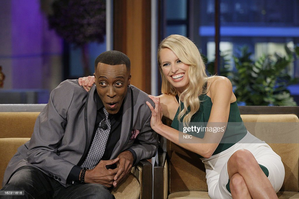 Comedian <a gi-track='captionPersonalityLinkClicked' href=/galleries/search?phrase=Arsenio+Hall&family=editorial&specificpeople=211441 ng-click='$event.stopPropagation()'>Arsenio Hall</a> and model <a gi-track='captionPersonalityLinkClicked' href=/galleries/search?phrase=Karolina+Kurkova&family=editorial&specificpeople=202513 ng-click='$event.stopPropagation()'>Karolina Kurkova</a> during an interview on February 21, 2013 --