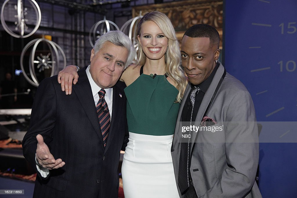 LENO -- (EXCLUSIVE COVERAGE) -- Episode 4414 -- Pictured: (l-r) Host Jay Leno, model <a gi-track='captionPersonalityLinkClicked' href=/galleries/search?phrase=Karolina+Kurkova&family=editorial&specificpeople=202513 ng-click='$event.stopPropagation()'>Karolina Kurkova</a>, comedian Arsenio Hall on February 21, 2013 --