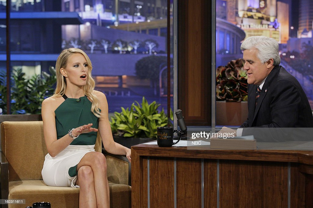 Model <a gi-track='captionPersonalityLinkClicked' href=/galleries/search?phrase=Karolina+Kurkova&family=editorial&specificpeople=202513 ng-click='$event.stopPropagation()'>Karolina Kurkova</a> during an interview with host <a gi-track='captionPersonalityLinkClicked' href=/galleries/search?phrase=Jay+Leno+-+Television+Host&family=editorial&specificpeople=156431 ng-click='$event.stopPropagation()'>Jay Leno</a> on February 21, 2013 --