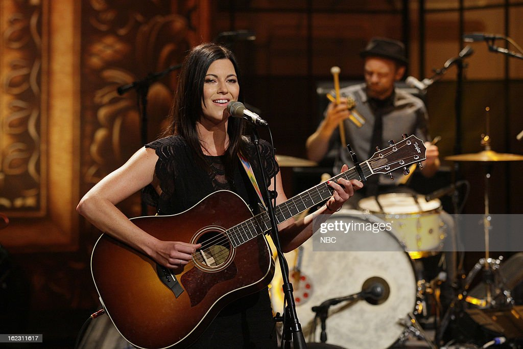 Musical guest <a gi-track='captionPersonalityLinkClicked' href=/galleries/search?phrase=Tristan+Prettyman&family=editorial&specificpeople=756067 ng-click='$event.stopPropagation()'>Tristan Prettyman</a> performs on February 21, 2013 --
