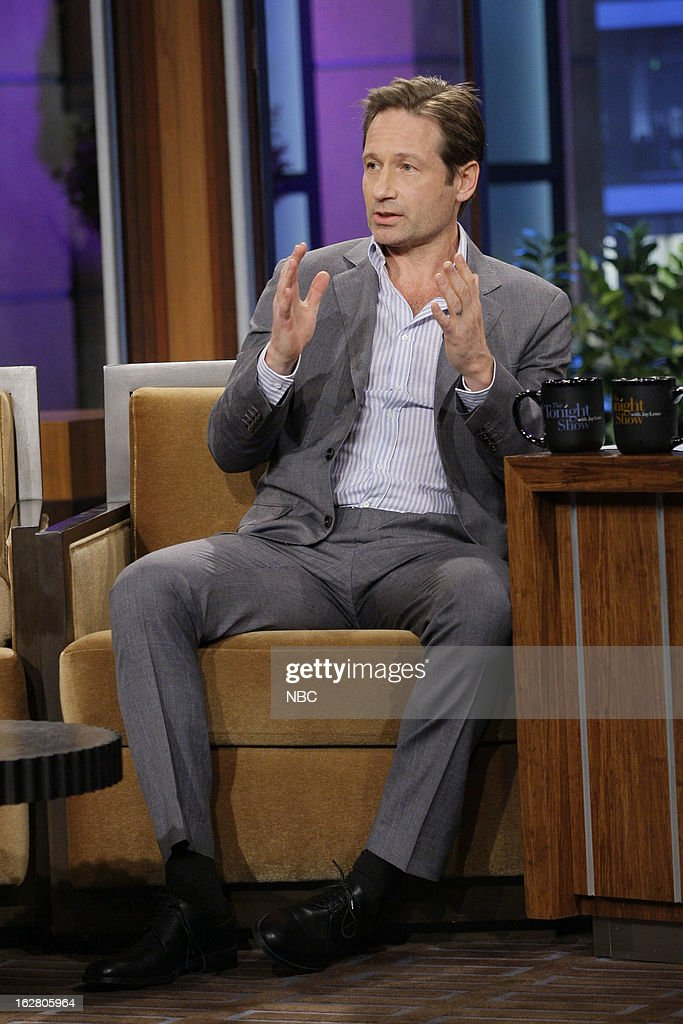 Actor <a gi-track='captionPersonalityLinkClicked' href=/galleries/search?phrase=David+Duchovny&family=editorial&specificpeople=201628 ng-click='$event.stopPropagation()'>David Duchovny</a> during an interview on February 27, 2013 --