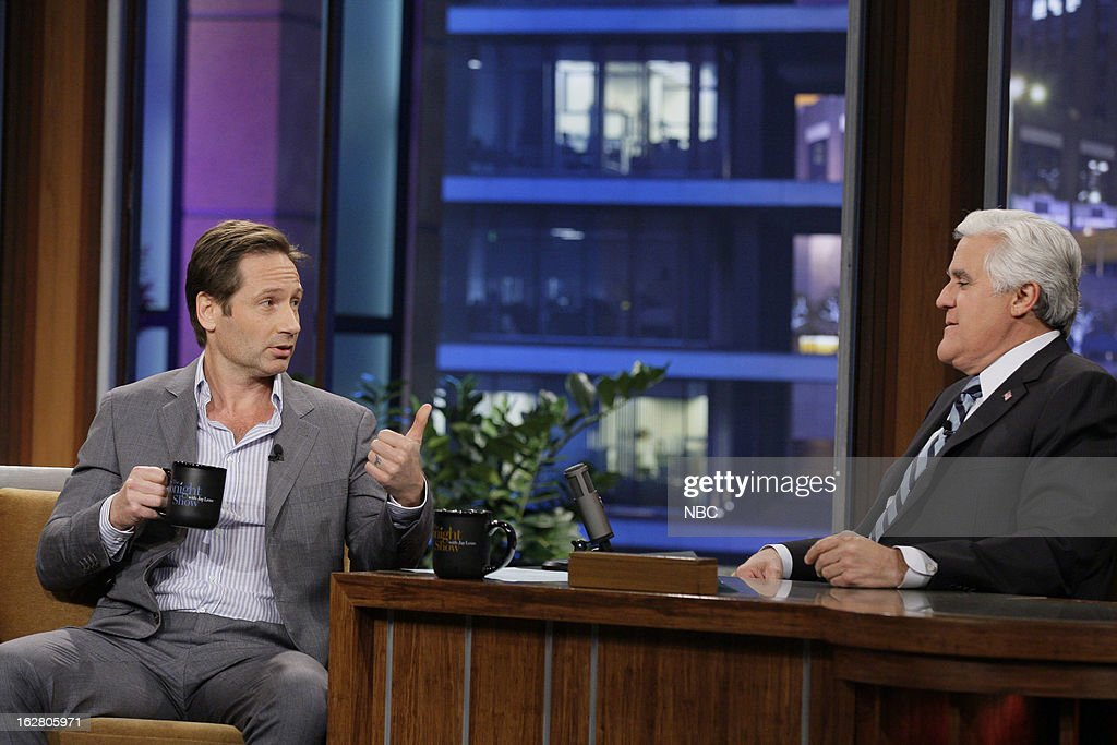 Actor <a gi-track='captionPersonalityLinkClicked' href=/galleries/search?phrase=David+Duchovny&family=editorial&specificpeople=201628 ng-click='$event.stopPropagation()'>David Duchovny</a> during an interview with host <a gi-track='captionPersonalityLinkClicked' href=/galleries/search?phrase=Jay+Leno+-+Television+Host&family=editorial&specificpeople=156431 ng-click='$event.stopPropagation()'>Jay Leno</a> on February 27, 2013 --