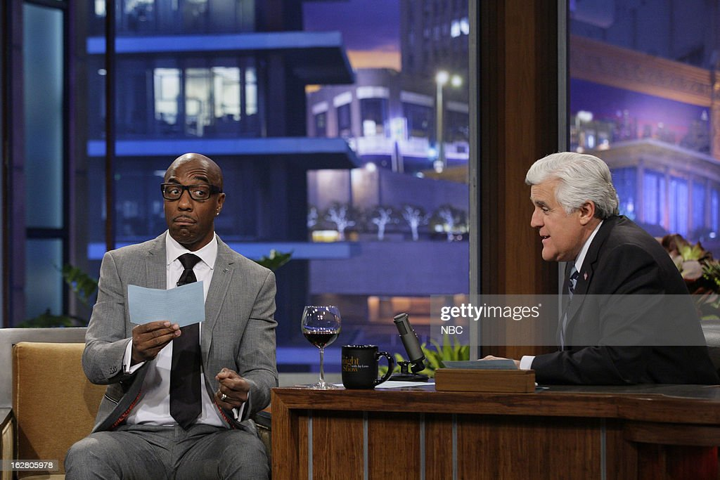 Comedian J.B.Smoove during an interview with host <a gi-track='captionPersonalityLinkClicked' href=/galleries/search?phrase=Jay+Leno+-+Television+Host&family=editorial&specificpeople=156431 ng-click='$event.stopPropagation()'>Jay Leno</a> on February 27, 2013 --