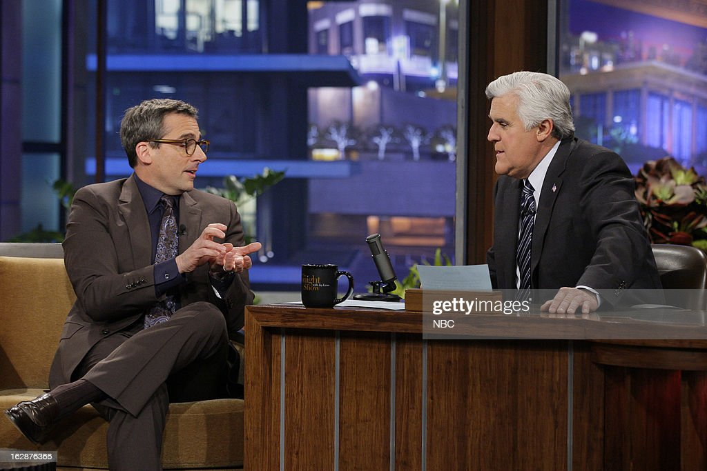 Actor Steve Carell during an interview with host Jay Leno on February 28, 2013 --