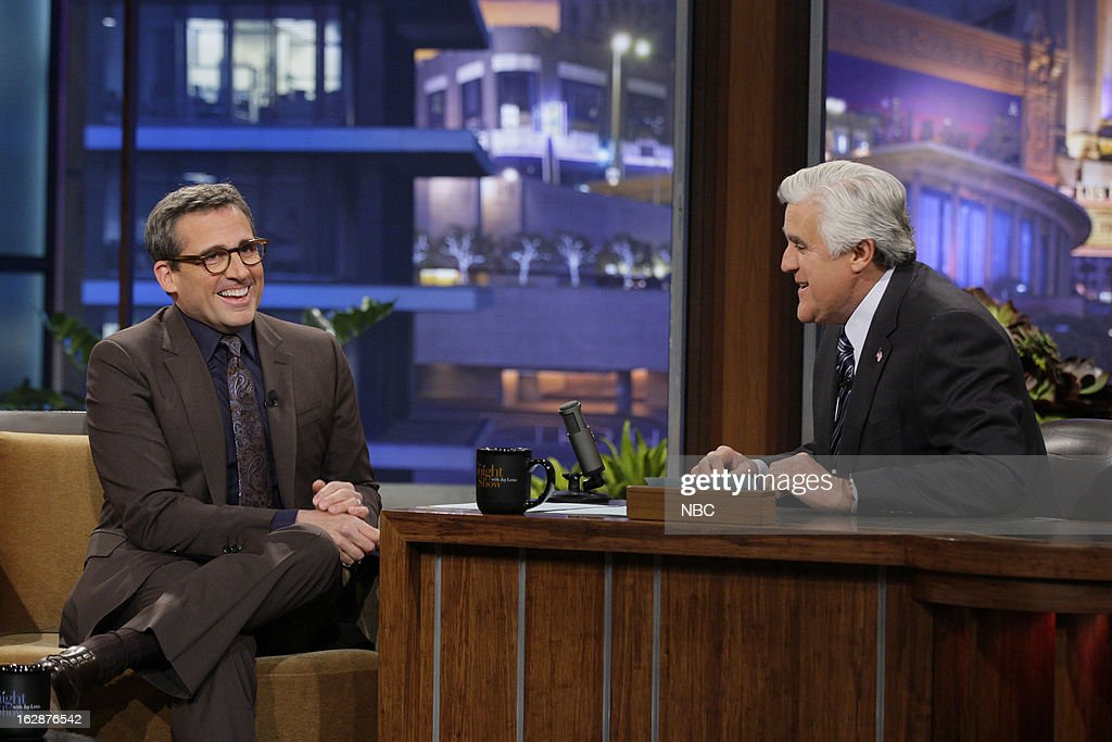 Actor <a gi-track='captionPersonalityLinkClicked' href=/galleries/search?phrase=Steve+Carell&family=editorial&specificpeople=595491 ng-click='$event.stopPropagation()'>Steve Carell</a> during an interview with host <a gi-track='captionPersonalityLinkClicked' href=/galleries/search?phrase=Jay+Leno+-+Television+Host&family=editorial&specificpeople=156431 ng-click='$event.stopPropagation()'>Jay Leno</a> on February 28, 2013 --