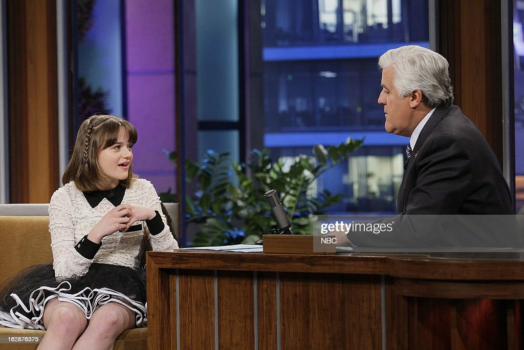 Actress <a gi-track='captionPersonalityLinkClicked' href=/galleries/search?phrase=Joey+King+-+Actress&family=editorial&specificpeople=2264584 ng-click='$event.stopPropagation()'>Joey King</a> during an interview with host <a gi-track='captionPersonalityLinkClicked' href=/galleries/search?phrase=Jay+Leno+-+Television+Host&family=editorial&specificpeople=156431 ng-click='$event.stopPropagation()'>Jay Leno</a> on February 28, 2013 --