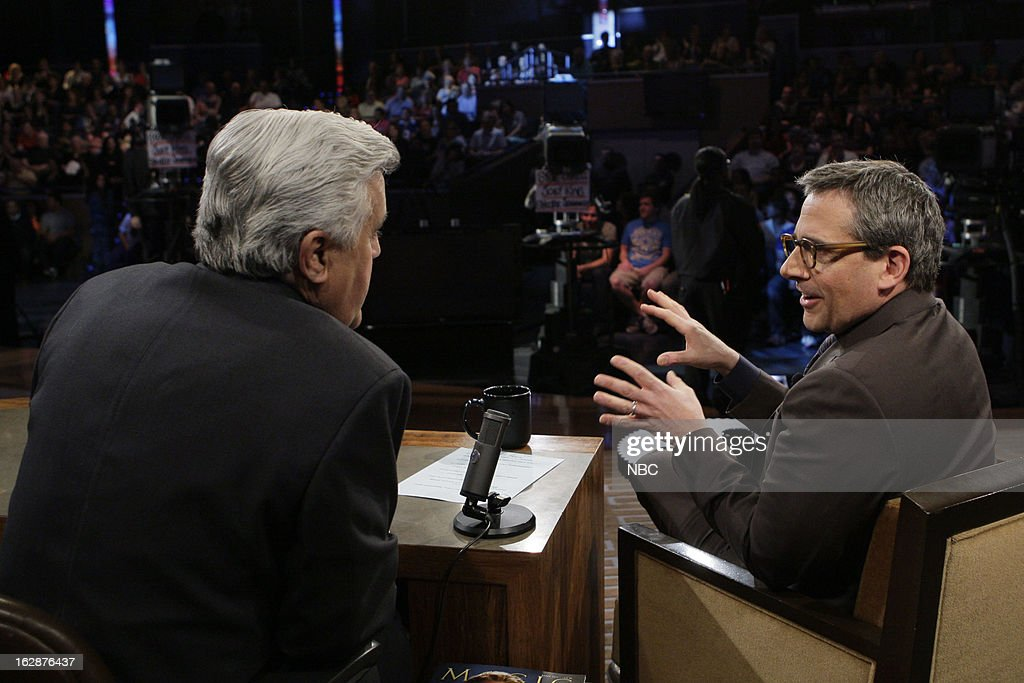 LENO -- (EXCLUSIVE COVERAGE) -- Episode 4419 -- Pictured: (l-r) Host Jay Leno talks with actor Steve Carell during a commercial break on February 28, 2013 --