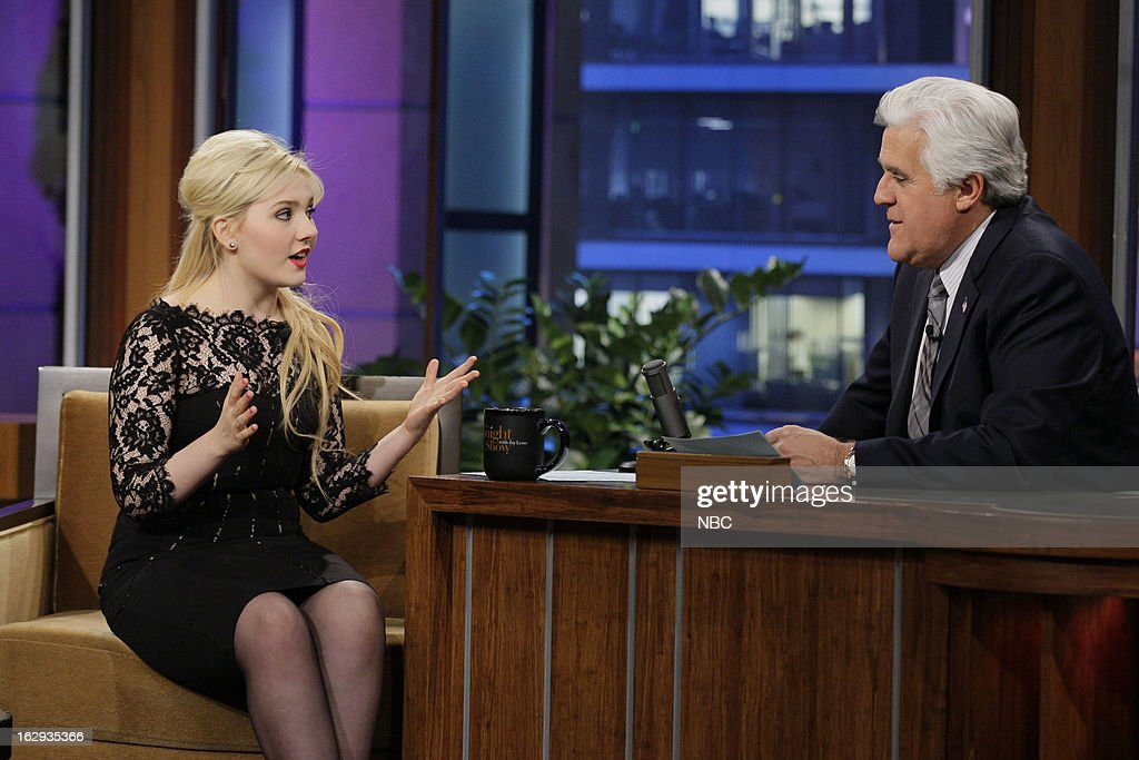 Actress <a gi-track='captionPersonalityLinkClicked' href=/galleries/search?phrase=Abigail+Breslin&family=editorial&specificpeople=226628 ng-click='$event.stopPropagation()'>Abigail Breslin</a> during an interview with host <a gi-track='captionPersonalityLinkClicked' href=/galleries/search?phrase=Jay+Leno+-+Television+Host&family=editorial&specificpeople=156431 ng-click='$event.stopPropagation()'>Jay Leno</a> on March 1, 2013 --