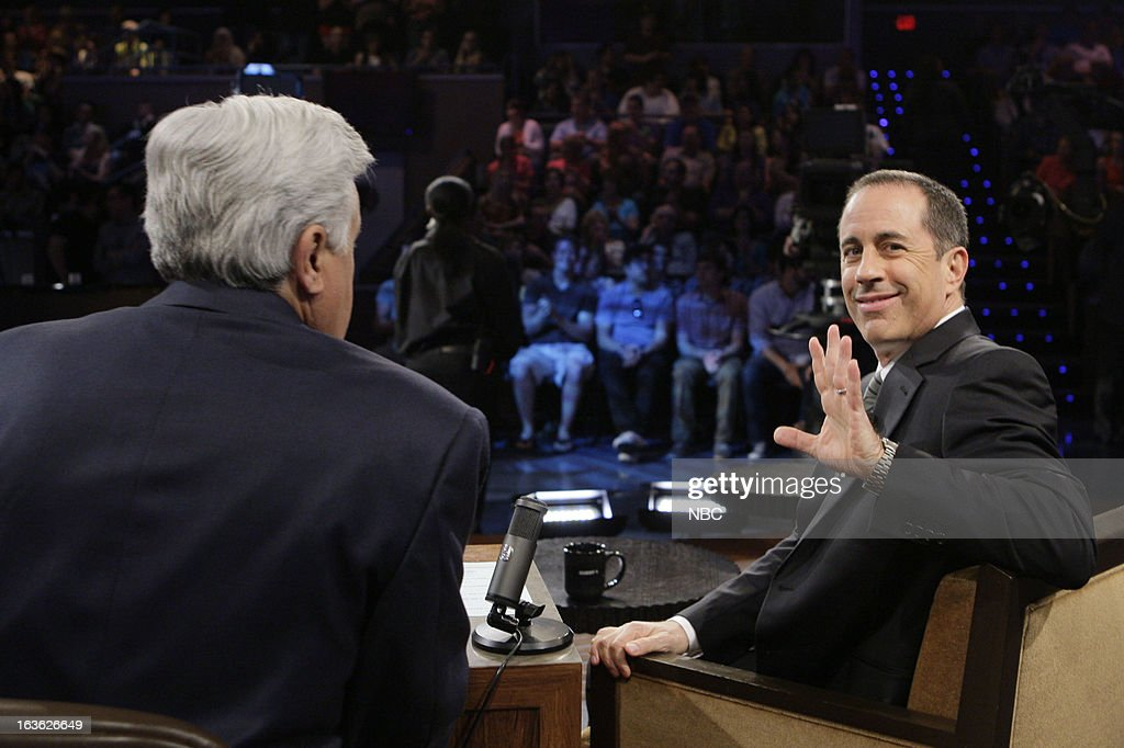 LENO -- (EXCLUSIVE COVERAGE) -- Episode 4422 -- Pictured: (l-r) Host Jay Leno talks with comedian <a gi-track='captionPersonalityLinkClicked' href=/galleries/search?phrase=Jerry+Seinfeld&family=editorial&specificpeople=210541 ng-click='$event.stopPropagation()'>Jerry Seinfeld</a> during a commercial break on March 12, 2013 --