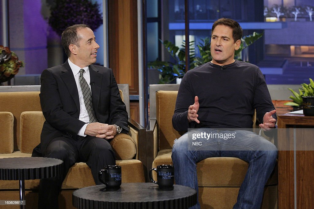 Comedian Jerry Seinfeld and Dallas Mavericks owner Mark Cuban during an interview on March 12, 2013 --
