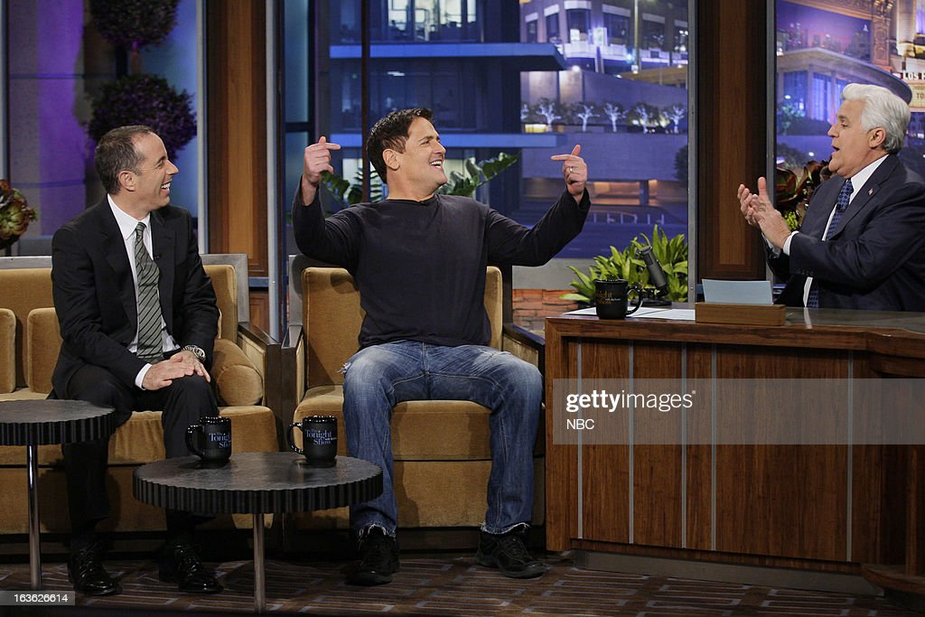 Comedian Jerry Seinfeld, Dallas Mavericks owner Mark Cuban during an interview with host Jay Leno on March 12, 2013 --