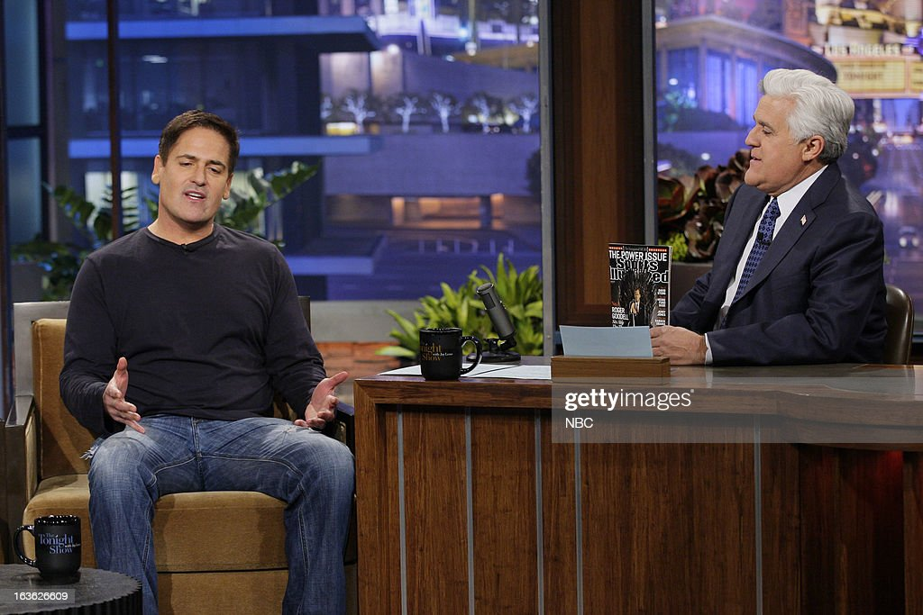 Dallas Mavericks owner Mark Cuban during an interview with host Jay Leno on March 12, 2013 --