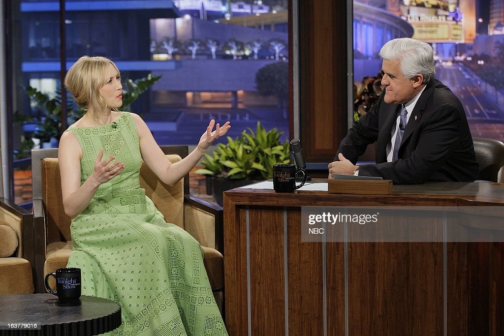 Actress <a gi-track='captionPersonalityLinkClicked' href=/galleries/search?phrase=Vera+Farmiga&family=editorial&specificpeople=227012 ng-click='$event.stopPropagation()'>Vera Farmiga</a> during an interview with host <a gi-track='captionPersonalityLinkClicked' href=/galleries/search?phrase=Jay+Leno+-+Television+Host&family=editorial&specificpeople=156431 ng-click='$event.stopPropagation()'>Jay Leno</a> on March 15, 2013 --