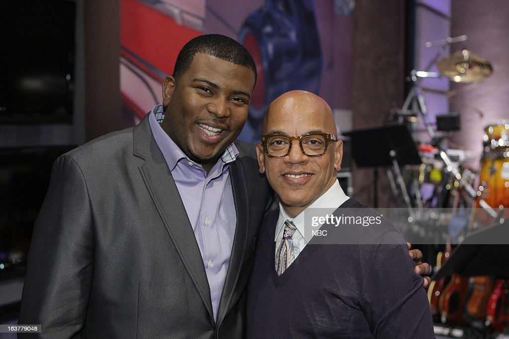 LENO -- (EXCLUSIVE COVERAGE) -- Episode 4425 -- Pictured: (l-r) American Idol castoff Curtis Finch Jr and Tonight Show band leader Rickey Minor on March 15, 2013 --