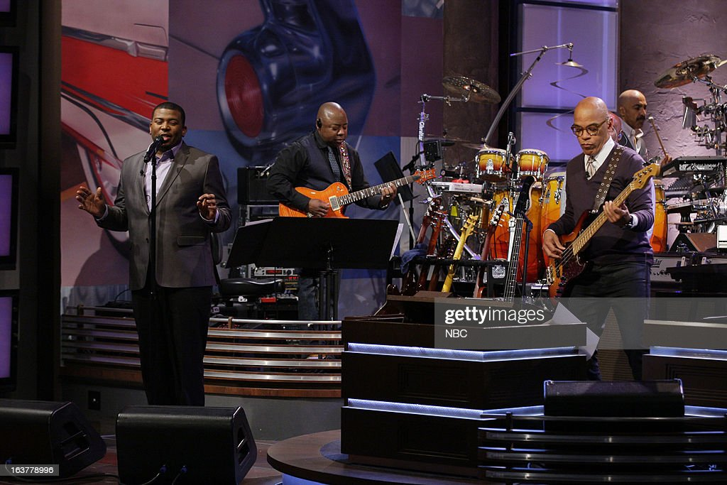 American Idol castoff Curtis Finch Jr performs with Rickey Minor and the Tonight Show band on March 15, 2013 --