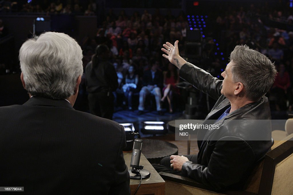 LENO -- (EXCLUSIVE COVERAGE) -- Episode 4425 -- Pictured: (l-r) Host <a gi-track='captionPersonalityLinkClicked' href=/galleries/search?phrase=Jay+Leno+-+Television+Host&family=editorial&specificpeople=156431 ng-click='$event.stopPropagation()'>Jay Leno</a> talks with talk show host <a gi-track='captionPersonalityLinkClicked' href=/galleries/search?phrase=Craig+Ferguson+-+Talk+Show+Host&family=editorial&specificpeople=204509 ng-click='$event.stopPropagation()'>Craig Ferguson</a> during a commercial break on March 15, 2013 --