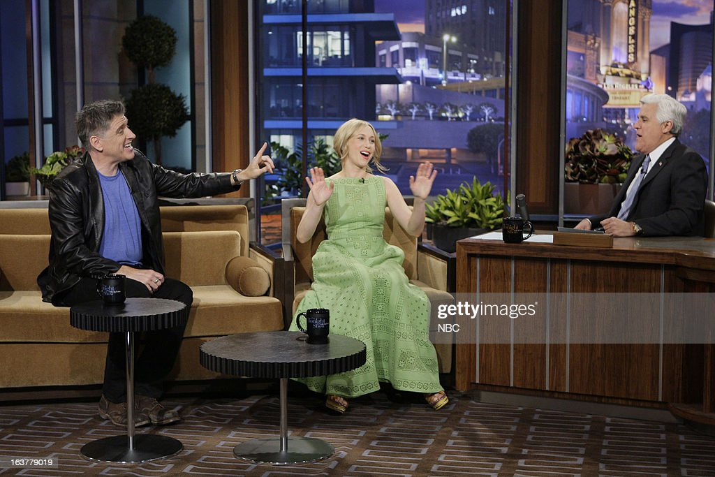Talk show host Craig Ferguson, actress Vera Farmiga during an interview with host Jay Leno on March 15, 2013 --