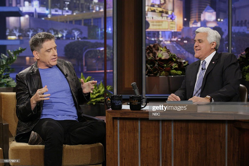 Talk show host Craig Ferguson during an interview with host Jay Leno on March 15, 2013 --