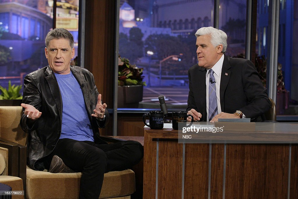 Talk show host <a gi-track='captionPersonalityLinkClicked' href=/galleries/search?phrase=Craig+Ferguson+-+Talk+Show+Host&family=editorial&specificpeople=204509 ng-click='$event.stopPropagation()'>Craig Ferguson</a> during an interview with host <a gi-track='captionPersonalityLinkClicked' href=/galleries/search?phrase=Jay+Leno+-+Television+Host&family=editorial&specificpeople=156431 ng-click='$event.stopPropagation()'>Jay Leno</a> on March 15, 2013 --