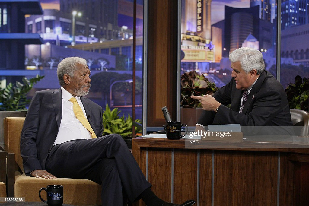 Actor Morgan Freeman during an interview with host Jay Leno on March 18, 2013 --