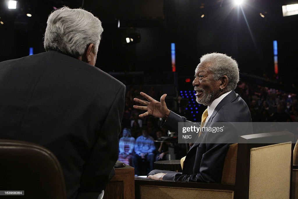 LENO -- (EXCLUSIVE COVERAGE) -- Episode 4426 -- Pictured: (l-r) Actor <a gi-track='captionPersonalityLinkClicked' href=/galleries/search?phrase=Morgan+Freeman&family=editorial&specificpeople=169833 ng-click='$event.stopPropagation()'>Morgan Freeman</a> talks with host <a gi-track='captionPersonalityLinkClicked' href=/galleries/search?phrase=Jay+Leno+-+Fernsehmoderator&family=editorial&specificpeople=156431 ng-click='$event.stopPropagation()'>Jay Leno</a> during a commercial break on March 18, 2013 --
