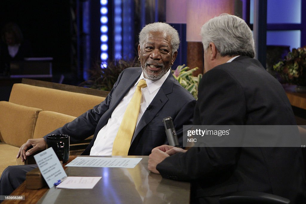 LENO -- (EXCLUSIVE COVERAGE) -- Episode 4426 -- Pictured: (l-r) Actor <a gi-track='captionPersonalityLinkClicked' href=/galleries/search?phrase=Morgan+Freeman&family=editorial&specificpeople=169833 ng-click='$event.stopPropagation()'>Morgan Freeman</a> talks with host <a gi-track='captionPersonalityLinkClicked' href=/galleries/search?phrase=Jay+Leno+-+Pr%C3%A9sentateur+de+t%C3%A9l%C3%A9vision&family=editorial&specificpeople=156431 ng-click='$event.stopPropagation()'>Jay Leno</a> during a commercial break on March 18, 2013 --
