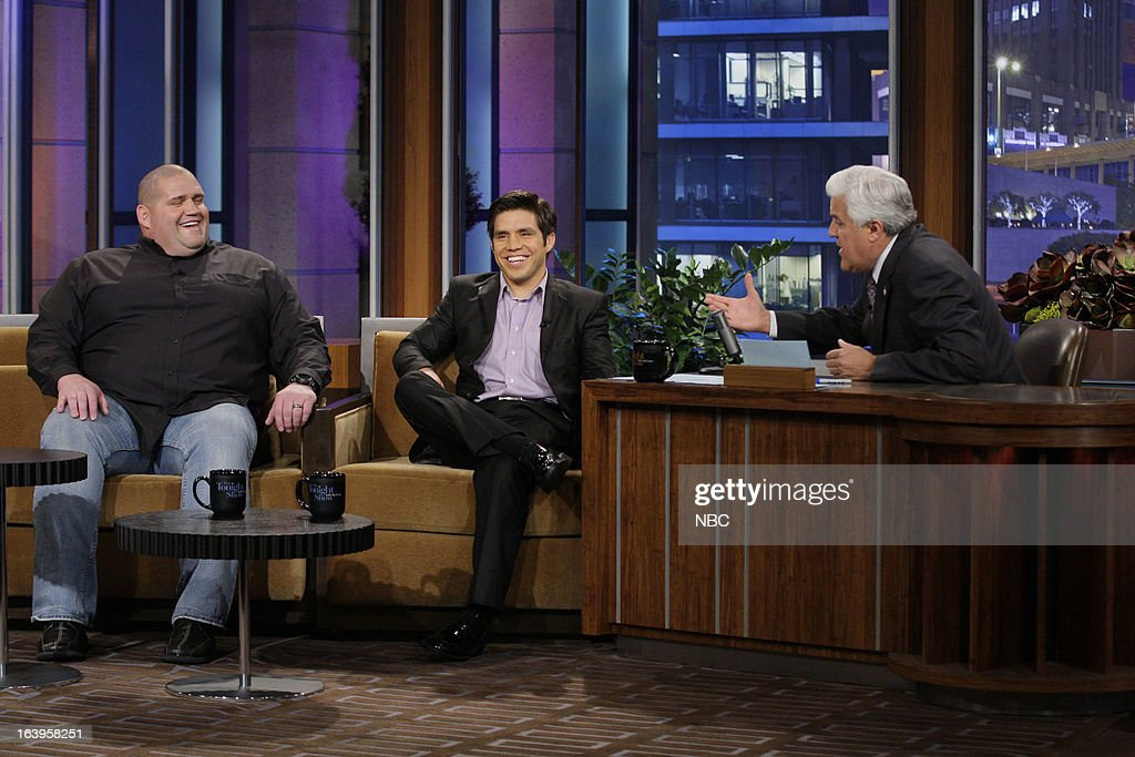 Olympic Wrestlers Rulon Gardner Henry Cejuda during an interview with host Jay Leno on March 18 2013