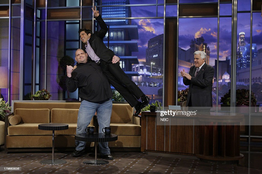Olympic Wrestlers Rulon Gardner & Henry Cejuda during an interview with host Jay Leno on March 18, 2013 --