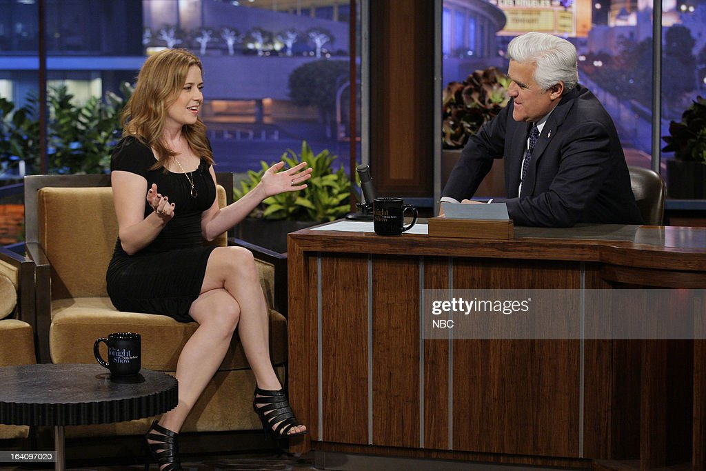 Actress <a gi-track='captionPersonalityLinkClicked' href=/galleries/search?phrase=Jenna+Fischer&family=editorial&specificpeople=274744 ng-click='$event.stopPropagation()'>Jenna Fischer</a> during an interview with host <a gi-track='captionPersonalityLinkClicked' href=/galleries/search?phrase=Jay+Leno+-+Television+Host&family=editorial&specificpeople=156431 ng-click='$event.stopPropagation()'>Jay Leno</a> on March 19, 2013 --