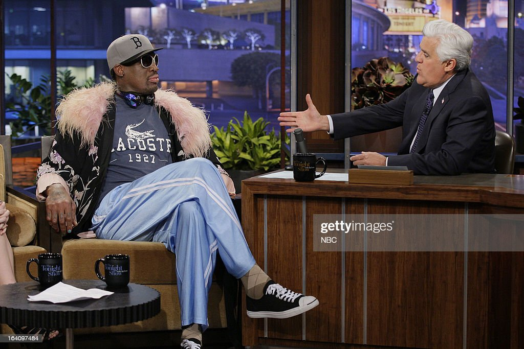 Former basketball player Dennis Rodman during an interview with host Jay Leno on March 19, 2013 --