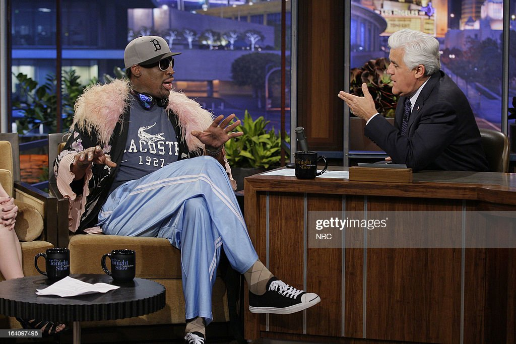 Former basketball player <a gi-track='captionPersonalityLinkClicked' href=/galleries/search?phrase=Dennis+Rodman&family=editorial&specificpeople=202643 ng-click='$event.stopPropagation()'>Dennis Rodman</a> during an interview with host <a gi-track='captionPersonalityLinkClicked' href=/galleries/search?phrase=Jay+Leno+-+Television+Host&family=editorial&specificpeople=156431 ng-click='$event.stopPropagation()'>Jay Leno</a> on March 19, 2013 --