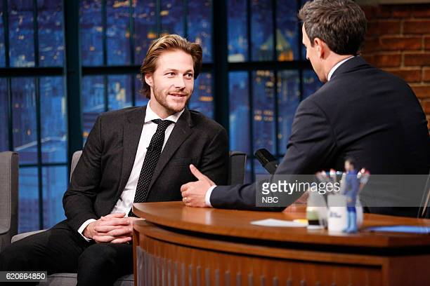 Actor Luke Bracey during an interview with host Seth Meyers on November 2 2016