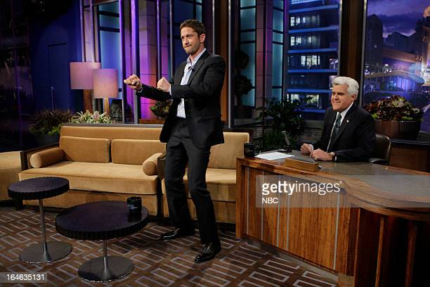 LENO Episode 4431 Pictured Actor Gerard Butler host Jay Leno during a commercial break on March 25 2013
