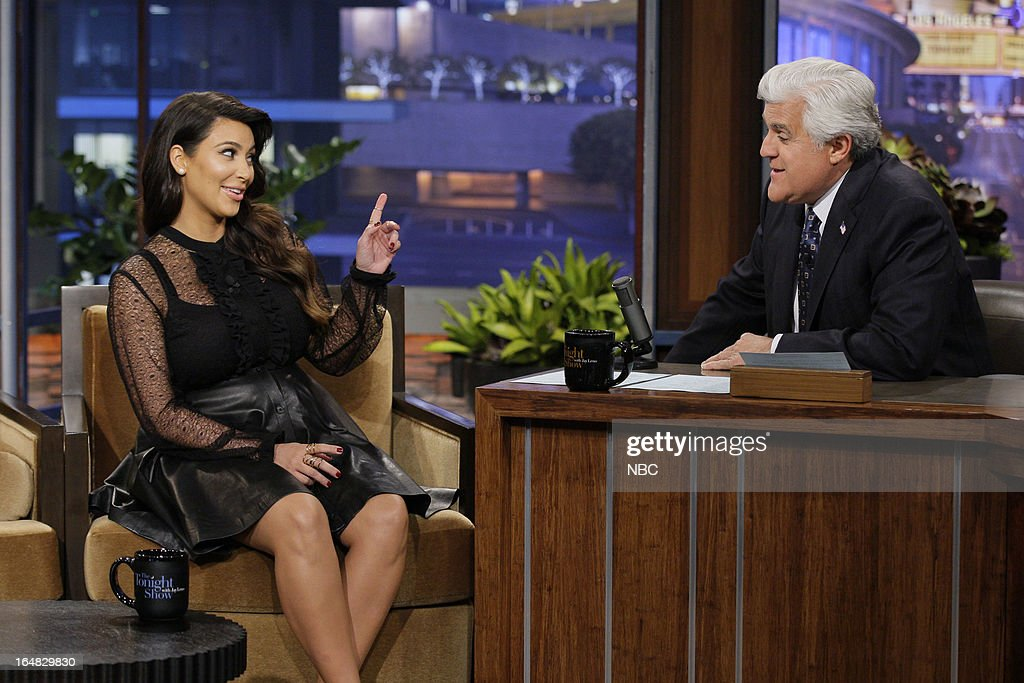<a gi-track='captionPersonalityLinkClicked' href=/galleries/search?phrase=Kim+Kardashian&family=editorial&specificpeople=753387 ng-click='$event.stopPropagation()'>Kim Kardashian</a> during an interview with host <a gi-track='captionPersonalityLinkClicked' href=/galleries/search?phrase=Jay+Leno+-+Television+Host&family=editorial&specificpeople=156431 ng-click='$event.stopPropagation()'>Jay Leno</a> on March 28, 2013 --